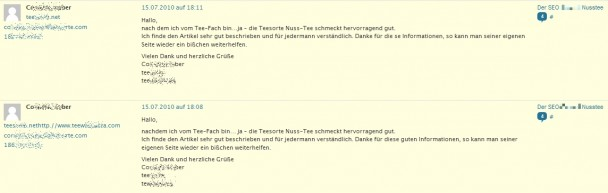 Blog-Spam durch Kommentare
