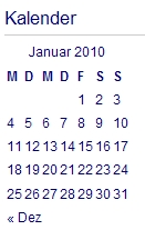 Blogdesign - Kalender
