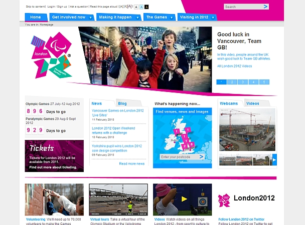 Webdesign Olympische Sommerspiele London 2012
