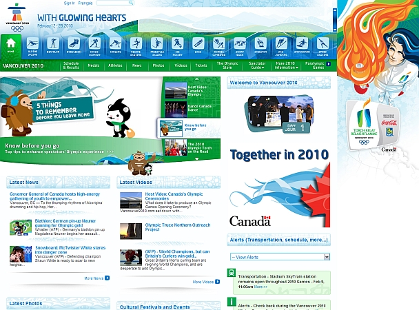 Webdesign Olympsiche Spiele Vancouver 2010